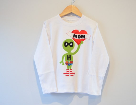 Applique Boy Mothers Day Shirt Personalized Alien Long Sleeved 18m 2 4 6 8 10 Initial Tshirt Kids Day I love Mom Heart Stripe Underpants