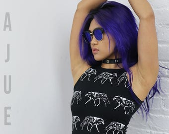 BAJUES Double Screen Printed Wolves Cropped Tank Top