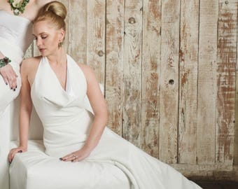 Beach Wedding Dress, Backless Halter with Train, HOLLIE, Ivory, White, Black, Other Colors