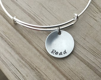 """SALE- Quote Bangle Bracelet- """"Read""""- hand-stamped bracelet- cupped/domed pendant-  only 1 available"""