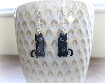 Maneki Neko Earrings - Black Cat - Shrink Plastic and Sterling Silver