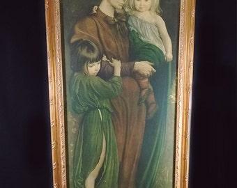 Vintage Artist George De Forest Brush Mother And Children Painting Print Gilded Frame