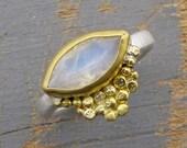 Monnstone Ring - 22k gold  Moonstone Ring - Engagement Ring - Gold & Silver Ring