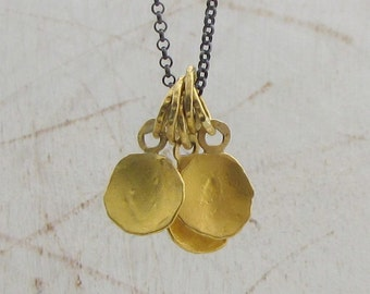 24k Solid Gold Pendants Necklace - Gold Pendants on Oxidized Silver Chain - Charm Necklace - One of a Kind