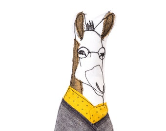 Donkey doll , hipster donkey , safari nursery , ornamental doll , book shelf decor , Bachelor Party gift , hipster animal , portrait doll