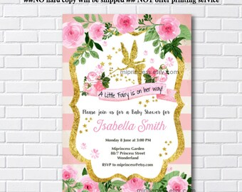 Fairy Baby Shower Invitation Baby birthday invite, fairy girl Shower Invite party Invitation, baby girl shower, - card 1127