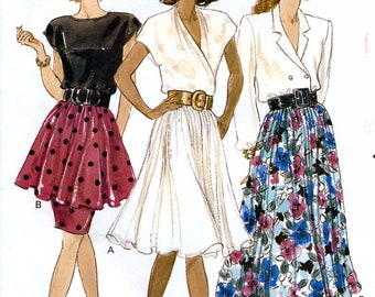 Butterick 6976 Vintage 80s Sewing Pattern for Misses' Skirt - Uncut - Size 12, 14, 16