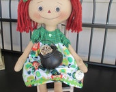Irish Raggedy with her pot of gold