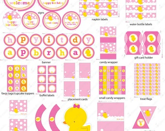 Pink Rubber Ducky Birthday Decorations Printable - Rubber Duck Birthday Party - Instant Download - Pink and Yellow First Birthday - Girl