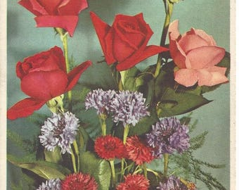 Vintage Alfred Mainzer #405 Roses and Bachelor Buttons Lithograph Postcard, 1943-1964