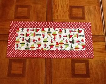 Quilted Christmas Table Runner, Jingle Elves Table Runner, Red and Green Holiday Table Runner, Quiltsy Handmade
