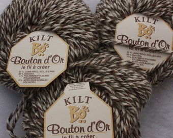 4 Balls of Wool Angora Blend Yarn Kilt by Bouton d'Or Color Cayenne # 143 brown and off white
