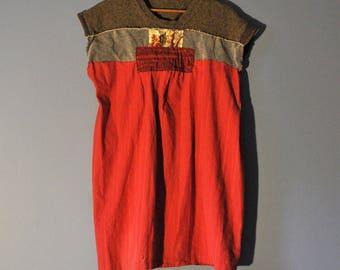 Sashiko Style Babydoll Tunic Dress/Upcycled Japanese Boro Tunic/Petite to Plus/ Upcycled Boho Clothing