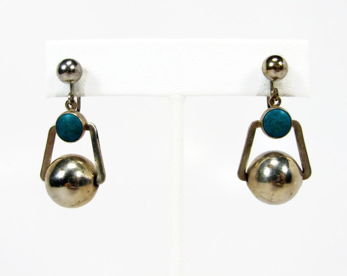 Vintage Turquoise Silver Tone Dangle Earrings