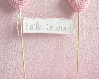 First Birthday Cake Topper, 1st Birthday Cake Banner, Pink Birthday, Birthday Party Decor