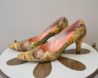 1960s Johansen Printed Silk Heels