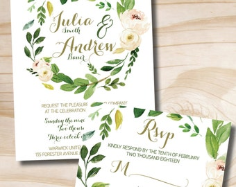 Watercolor Floral Wreath Wedding Invitation Response Card Invitation Suite, Foliage, Floral, Romantic, Olive Green and Soft Pink