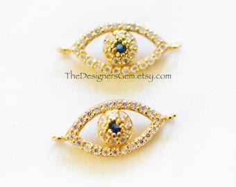 Gold Evil Eye Charm, CZ Evil Eye Charm, Evil Eye Connector, Blue Evil Eye, 20 x 9mm
