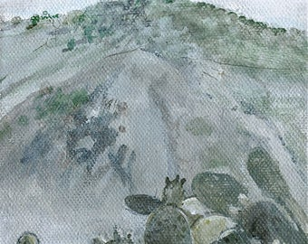 "Mountain cacti, original  painting 7"" x 5"""