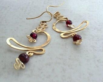 Gold filled Large earring, 14k Gold fill & Garnet big dangle earring, Gold Snake earrings, long drop earrings, gypsy earrings, MOON WAVE