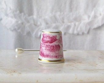 Vintage Thimble Red Transfer Ware Country Mill Scene Kaiser W Germany Sewing Room Collectable 1980s