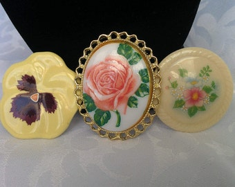 3 Ceramic, Milk Glass Brooches, Floral, LOT of 3