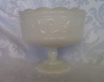 E. O. Brody Milk Glass Pedestal Dish, Compote, Candy Dish