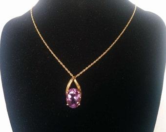 Clyde Duneier 10K Gold Amethyst Pendant, Clyde Duneier Jewelry, Amethyst Pendant