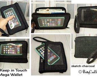 Passport wallet • cell phone pocket • iPhone • CUSTOM Smartphone Wallet • Note • sketch charcoal • Keep in Touch MEGA Wallet • 5b