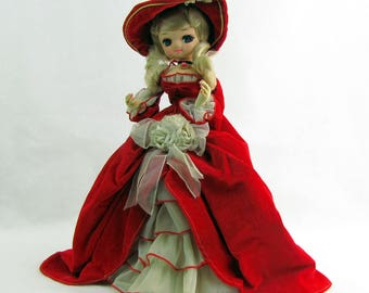 Vintage 1960s Bradley Big-Eye Doll Dressed in Red Velvet Korea