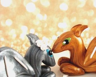 Dragon Wedding Cake Topper Dragon Geek Wedding Cake Topper Polymer Clay Customizable