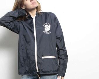 AFRICA USA blue vintage nylon ELEPHANT parka style windbreaker athletic wear sports jacket coat