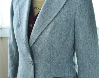 Vintage Grey Wool Skirt Suit with a Velvet Burgundy Vest - M