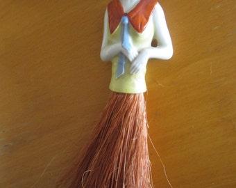 Antique Vintage Porcelain Lady Figurine Whisk Broom Germany with Box