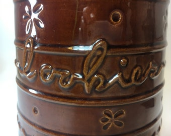 cookie canister  brown glaze stoneware marcrest ovenproof