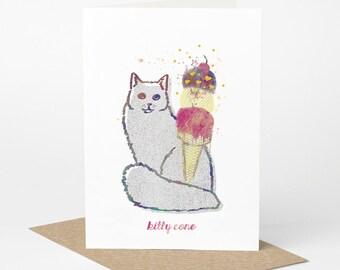Fluffy Cat Card - Kitty Cone (cat birthday card, funny cat card, cute cat card, ice cream card, blank cat card, cat card, cat foodie card)