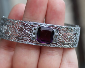 Vintage Rhodium Filigree Bracelet Purple Glass Stone Rhinestone Signed H Designer Bangle