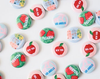 Ilootpaperie Set of 4 City Pinback Buttons - Los Angeles, New York, San Francisco and Pasadena
