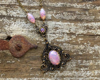 FIRE OPAL Victorian Necklace Pink Gold Victorian Jewelry Steampunk Necklace Brass Steampunk Wedding Steampunk Jewelry VictorianCuriosities