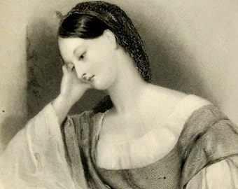 Shade of Sadness Print, Beautiful Melancholy Woman, Antique 1866 6x10 Victorian Bookplate Art Engraving, FREE SHIPPING