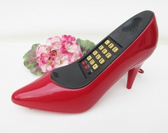 Vintage Shoe Phone, Telephone, Red High Heel, Fashion Art Red Pump - As Is