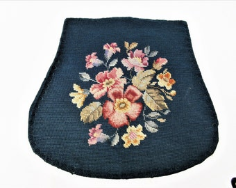 Vintage Needlepoint Chair Pad | Chair Seat | Petit Point | Floral Needlepoint Chair Cover