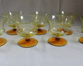 Utility Glass Works Nilotus Sherbet Glasses – Set of 9 / RARE Vaseline Glass with Amber Feet / Uranium Glass / Champagne Glasses