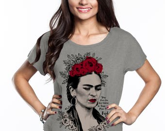 Glamour Frida with Red Roses Dolman Style Relaxed Tee