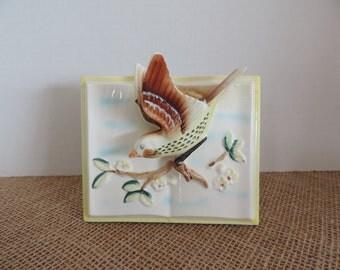 Vintage Wall Pocket Bird Wall Pocket Vase Vintage Home Decor Kitschy Ceramic Bird Bird Lover Gift Made in Japan Vintage Wall Art