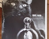 1960s My Sin Perfume Print Ad by Lanvin Black and White Photography Black Cat Bedroom Beauty Salon Wall Art
