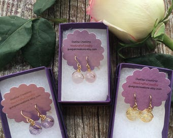 Gold Amethyst Earrings, Amethyst Jewelry, Purple Drop Earrings, Gold Purple Earrings, Minimal Earrings, Wire Wrap Earrings