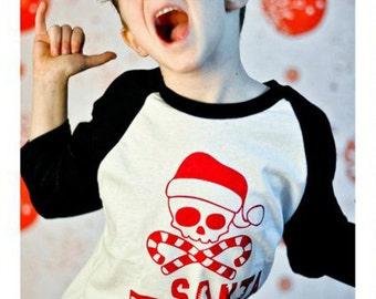Christmas Shirt - Santa Rocks Raglan Sleeve Tshirt - Toddler, Youth, Teen and Adults will love their cool matching personalized Santa Shirt