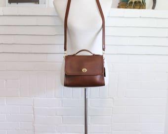 Vintage Coach Bag // Coach Court Bag // Leather Messenger Purse Handbag Mohogany Tan 9870