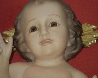 Antique Baby Jesus Statue .  Vintage 1960's Chalkware religious statue.